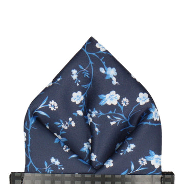 Navy Blue Blossom Floral Pocket Square