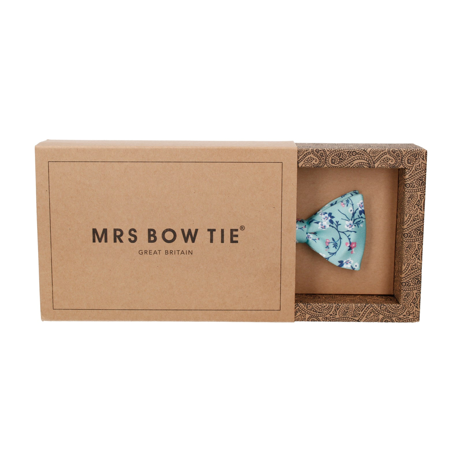Sea Green Blossom Floral Bow Tie