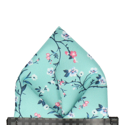 Sea Green Blossom Floral Pocket Square