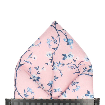 Pink Blossom Floral Pocket Square