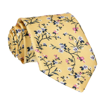 Yellow Blossom Floral Tie
