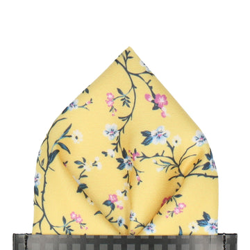 Yellow Blossom Floral Pocket Square