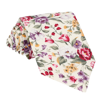 Cream & Pink Floral Cotton Tie (Outlet)