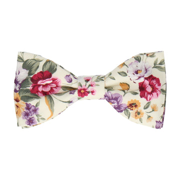 Cream & Pink Floral Cotton Bow Tie