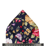 Navy Blue Floral Cotton Pocket Square