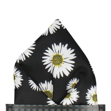 Black Large Daisy Print Pocket Square
