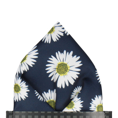 Daisy in Navy Blue Pocket Square