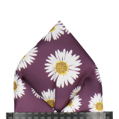 Daisy in Aubergine Pocket Square