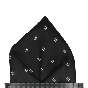 Black Simple Polka Flower Pocket Square