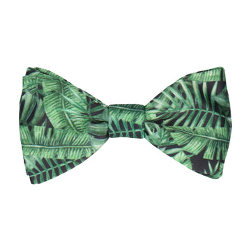 Rainforest Jungle Leaf Print Black Bow Tie
