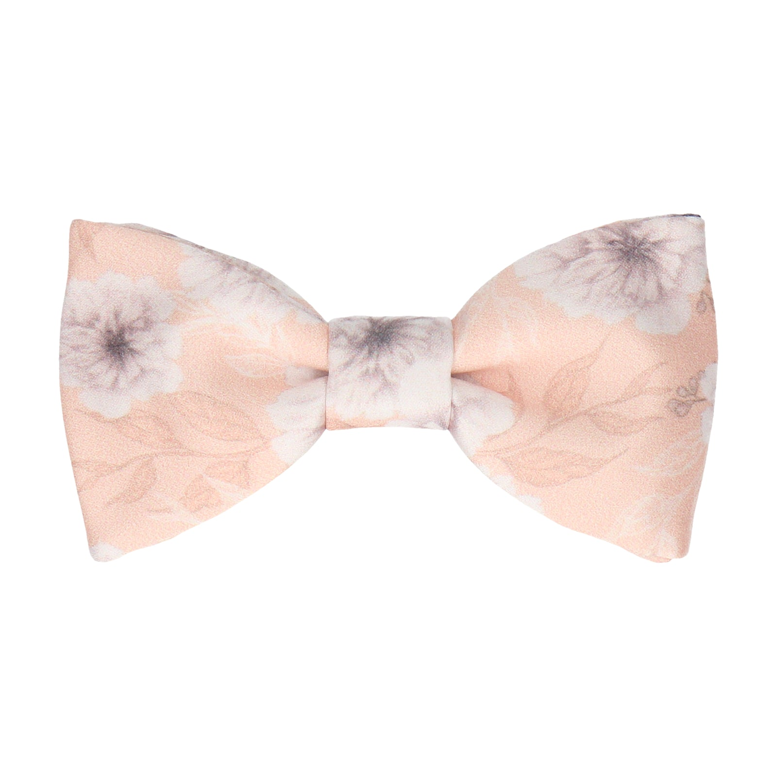 Light Peach Wedding Floral Bow Tie