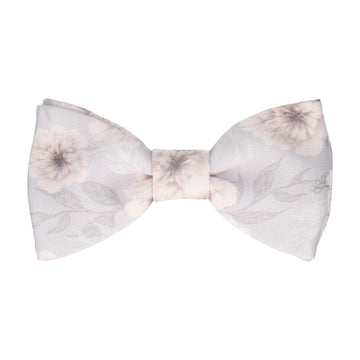 Platinum Grey Wedding Floral Bow Tie