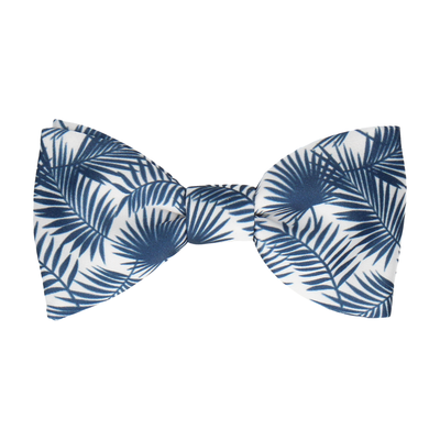 Palm Leaves Navy Blue Bow Tie