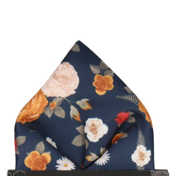 Floral Navy Blue Pocket Square