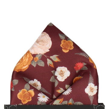 Floral Maroon Red Pocket Square
