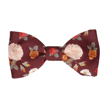 Abbotts Floral Maroon Dark Red Bow Tie