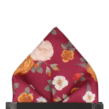 Bordeaux Red Floral Pocket Square