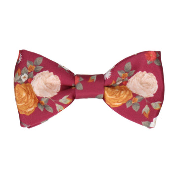 Bordeaux Red Floral Bow Tie