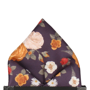 Abbotts Floral Dark Plum Pocket Square