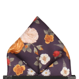 Floral Dark Plum Pocket Square