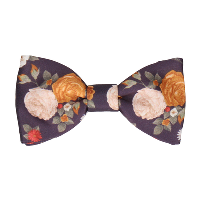 Abbotts Floral Dark Plum Bow Tie