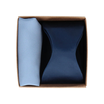 Gift Set | Navy Blue Bow Tie & Blue Satin Handkerchief