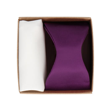 Gift Set | Purple Satin Bow Tie & White Satin Handkerchief