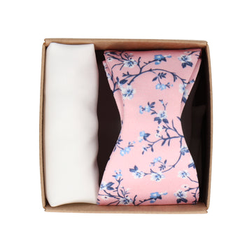 Gift Set | Pink Floral Satin Bow Tie & White Handkerchief
