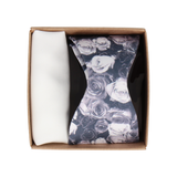 Gift Set | Monochrome Floral Satin Bow Tie & White Handkerchief