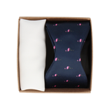 Gift Set | Flamingo Satin Bow Tie & White Handkerchief