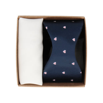 Gift Set | Navy Satin Love Heart Bow Tie & White Handkerchief