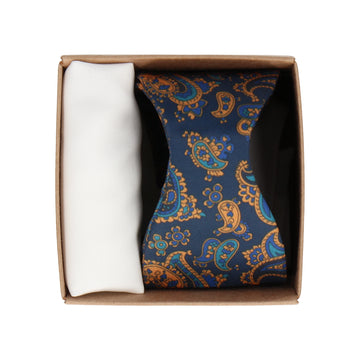 Gift Set | Navy Orange Paisley Satin Bow Tie & White Handkerchief