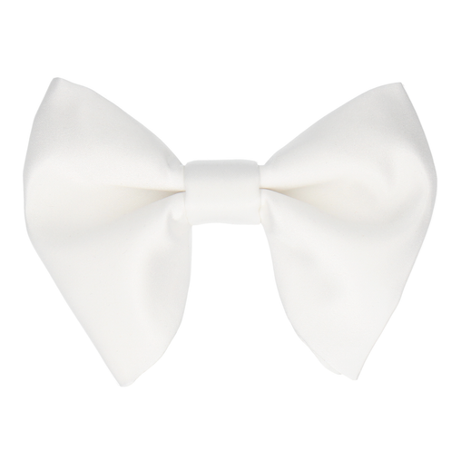 Satin in White Large Evening Bow Tie