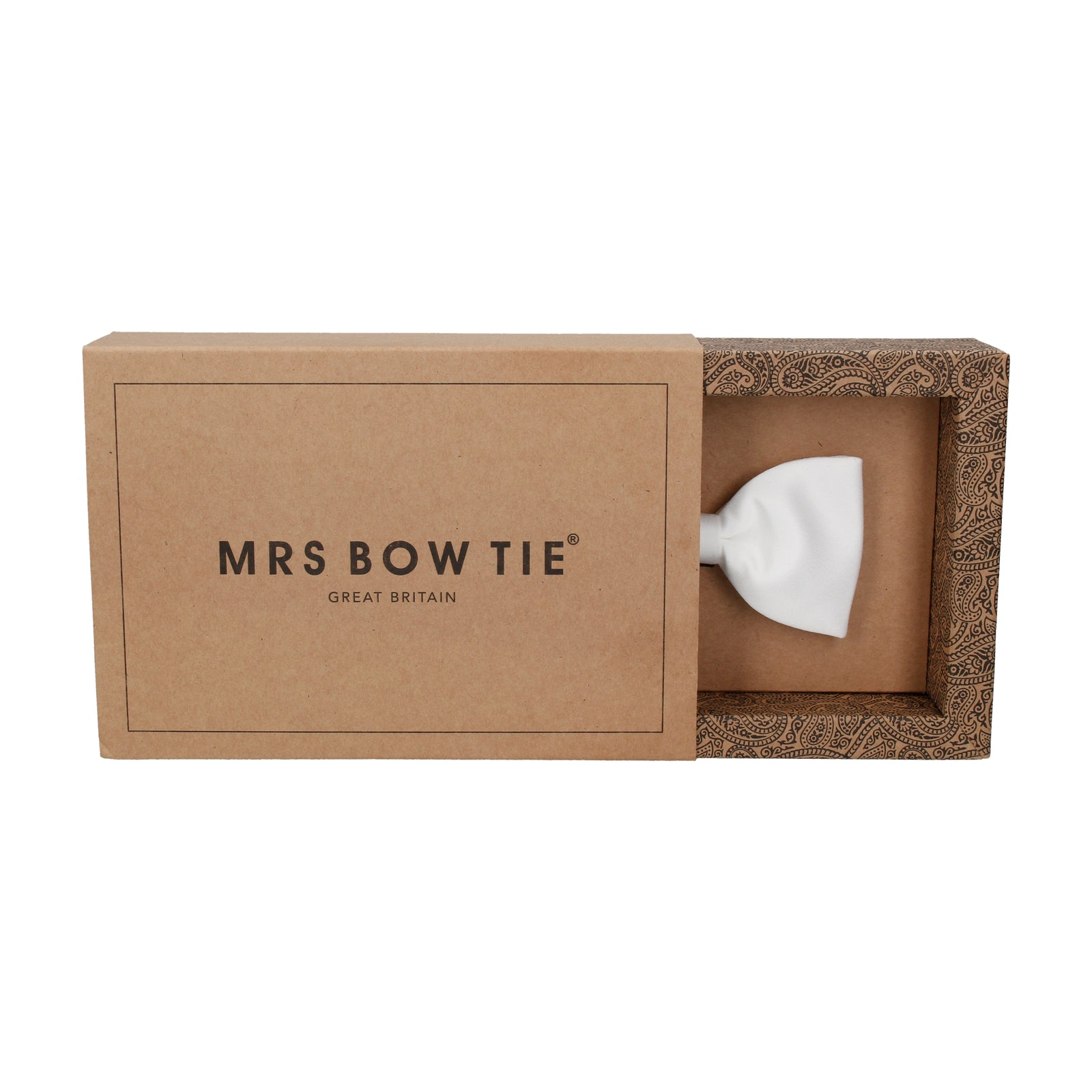 Solid Plain White Satin Bow Tie