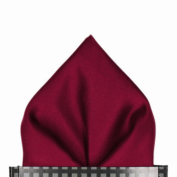 Burgundy Red Wine Plain Solid Satin Pocket Square