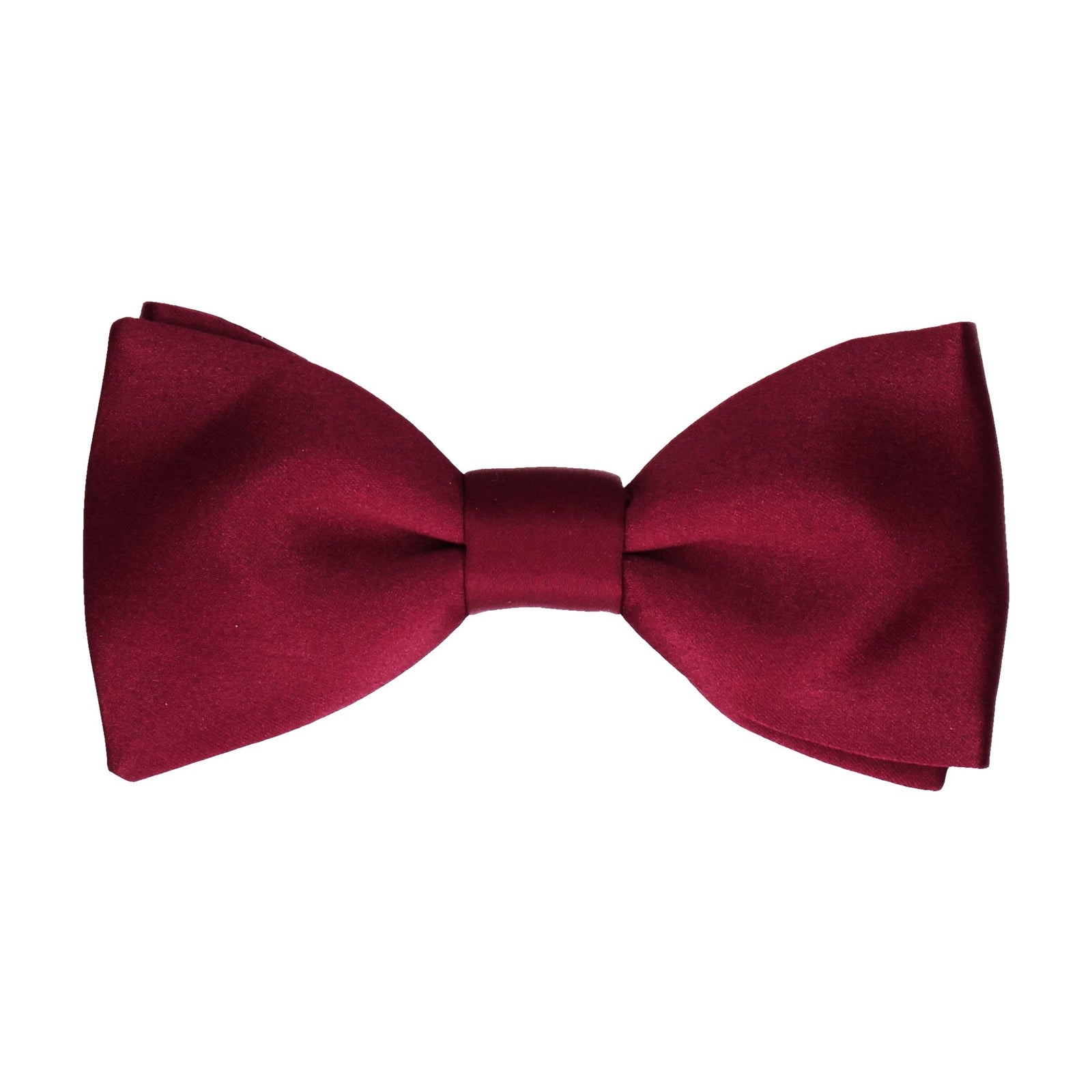 Burgundy Red Wine Plain Solid Satin Bow Tie