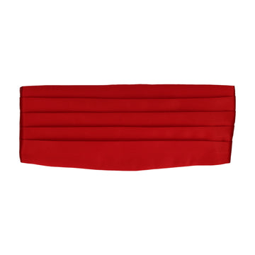 Vermillion Red Solid Plain Satin Cummerbund
