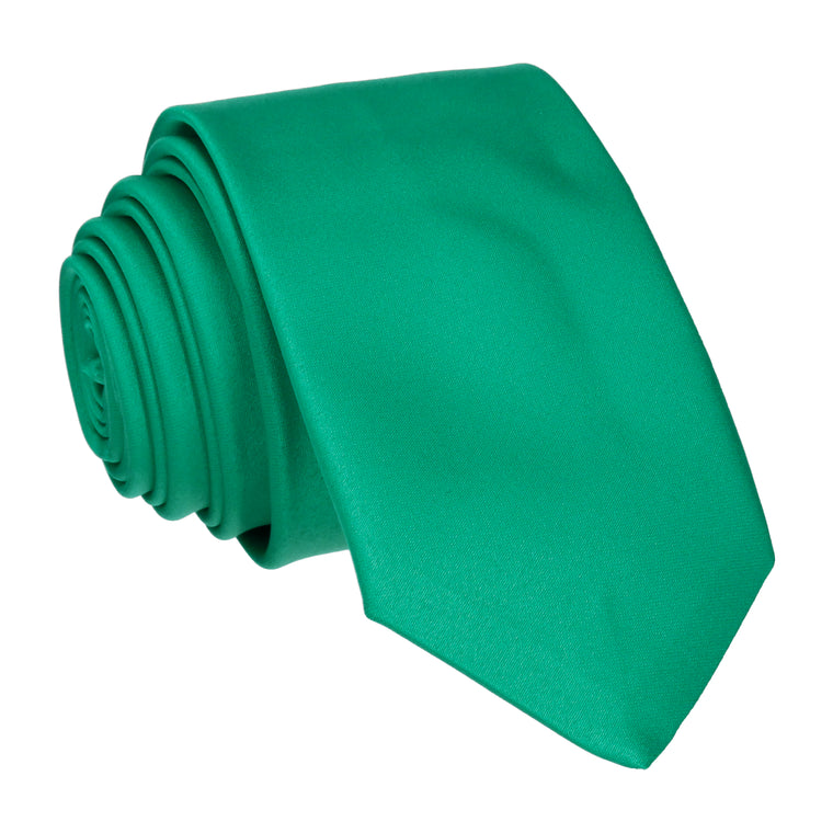 Plain Solid Emerald Green Satin Tie