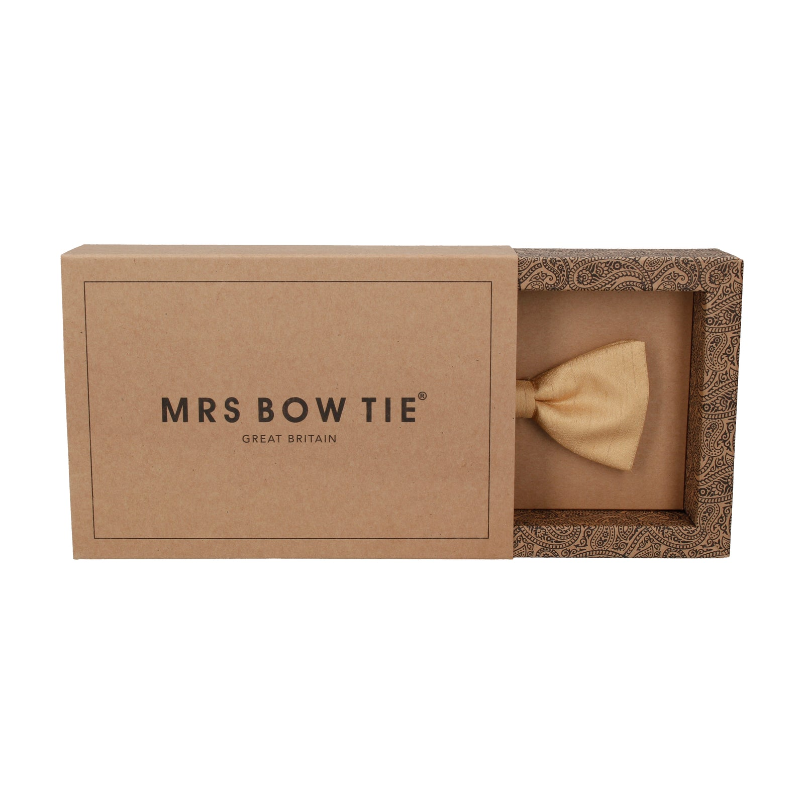 Faux Silk Gold Bow Tie