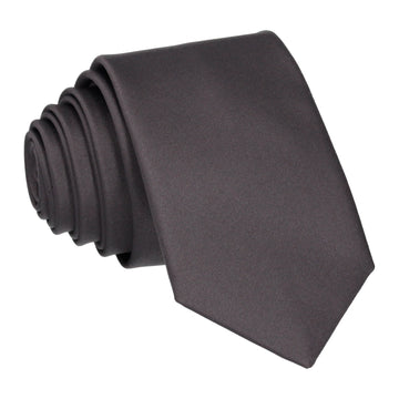 Plain Solid Gunmetal Grey Satin Tie