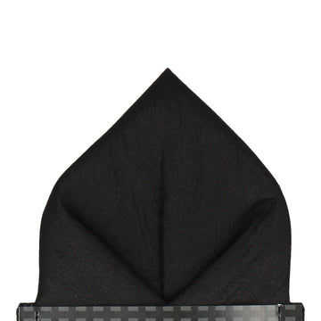 Black Faux Silk Pocket Square