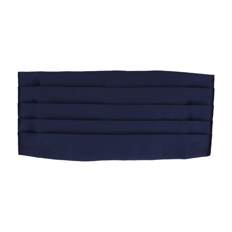 Plain Solid Midnight Navy Satin Cummerbund