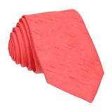 Faux Silk Hot Coral Tie