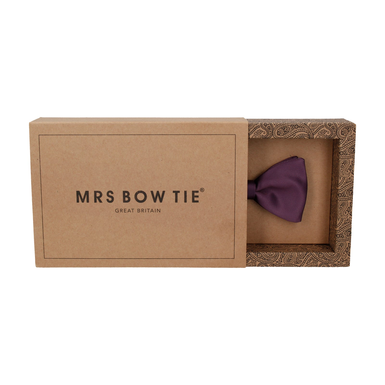 Plain Solid Aubergine Purple Bow Tie