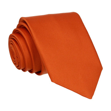 Plain Solid Copper Orange Satin Tie