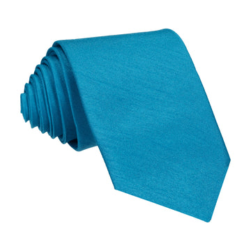 Faux Silk Peacock Blue Tie