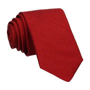 Ruby Red Faux Silk Tie