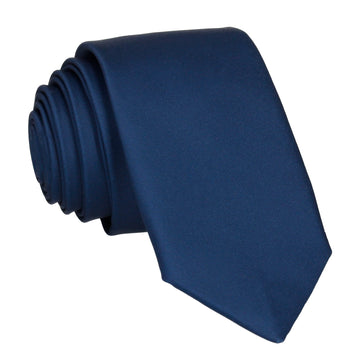 Plain Solid Prussian Blue Tie