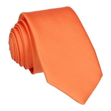 Plain Solid Tangerine Orange Tie