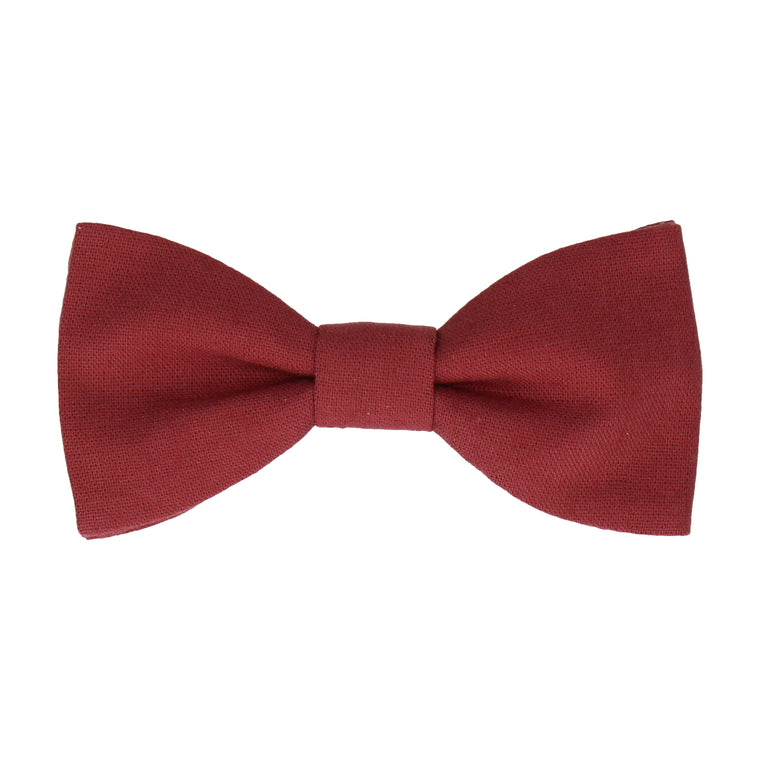 Port Red Brushed Linen Bow Tie